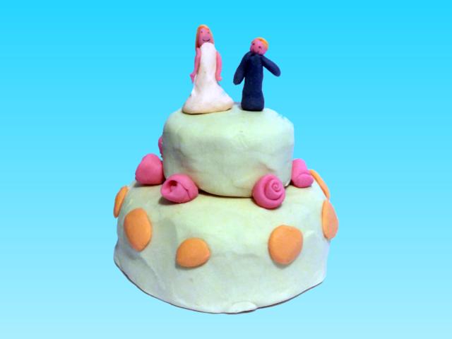 Gâteau de mariage en pâte à modeler!